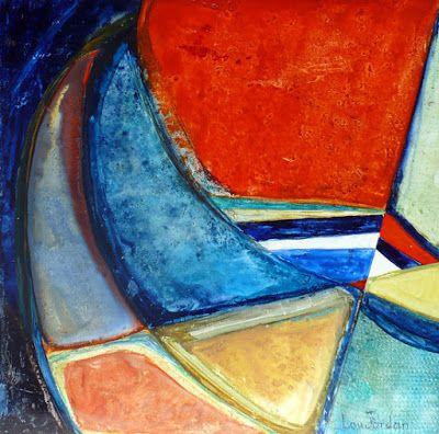 """Contemporary Geometric Abstract Painting """"Santa Catalina"""" by Contemporary New Orleans Artist Lou Jordan"""