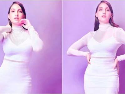 Nora Fatehi is a vision in sheer Rs 1.16 lakh white top and skirt in latest pics