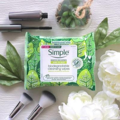 Simple launches first-ever biodegradable face wipes