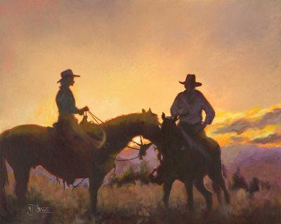 "Original Western Landscape,Equine, Cowboy Painting ""Day's End"" by Colorado Artist Nancee Jean Busse, Painter of the American West"