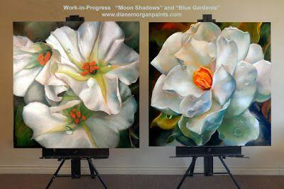 """Almost finished. """"Moon Shadows"""" and Blue Gardenia"""" oil on canvas commission"""