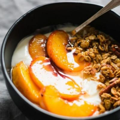 Peach Crisp Yogurt Bowls