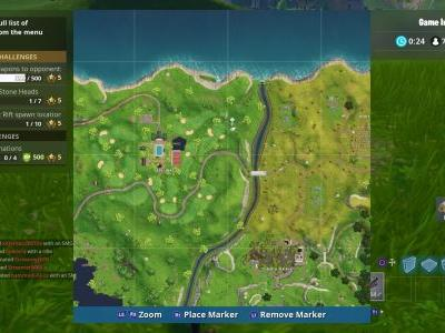 Fortnite: Search between a covered bridge, waterfall, and the 9th green