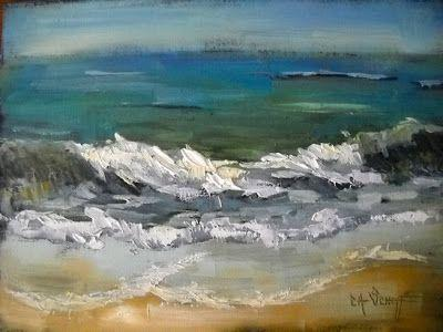 Seascape Painting, A Day at the Beach, Daily Painting, Small Oil Painting, SOLD