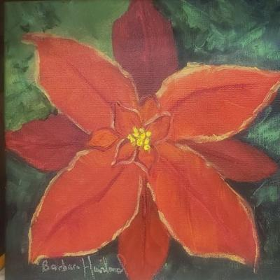 Barbara Haviland, Red Poinsettia, flower, miniature oil painting,8x8