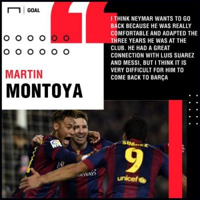 Neymar wants Barcelona return, claims former team-mate Montoya