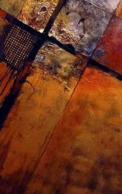 """Mixed Media Abstract Painting, """"IGNITION POINT"""" by Carol Nelson Fine Art"""
