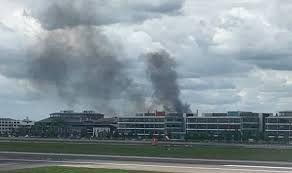Travel disruption at Heathrow airport, fire stalls train services near airport
