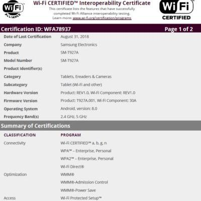 Samsung Galaxy View 2 Tablet Certified For Bluetooth & Wi-Fi