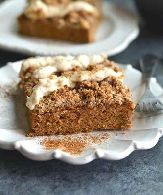 Pumpkin Spice Coffee Cake with Cashew Cream Frosting {Paleo, GF}