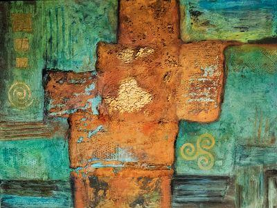 """Contemporary Abstract Mixed Media Painting """"Mother Lode"""" by Arizona Artist Pat Stacy"""