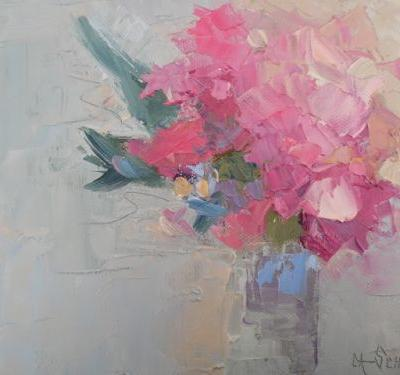 "Floral Still Life Painting, Daily Painting, Small Oil Painting, ""Pink Glory"", 6x8"" Oil on Panel"