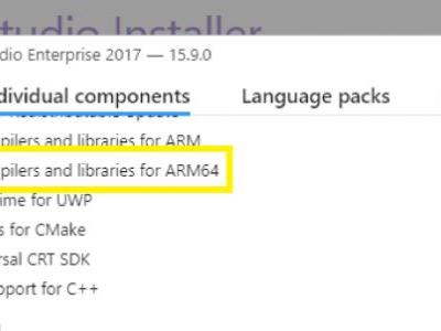 Official support for Windows 10 on ARM development