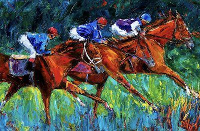 "Horse Race Art Painting Colorful Paintings Oil on Canvas ""Full Speed"" By Debra Hurd"