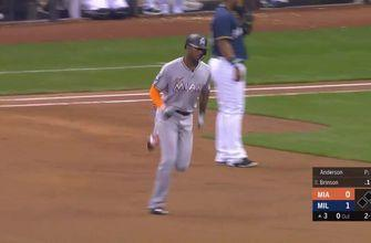 WATCH: Marlins OF Lewis Brinson hits 2 HRs against former team