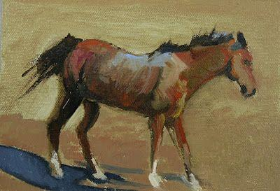 "Equine Oil Painting "" Brown Prancing Horse"" by Colorado Artist Susan Fowler"