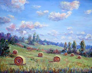 Harvested Round Hay Bales, New Contemporary Landscape by Sheri Jones