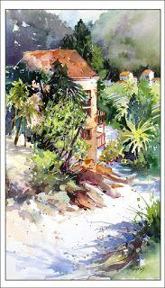 Zig Zag Stroll Into Town..Watercolor..Texas Artist.Rae Andrews