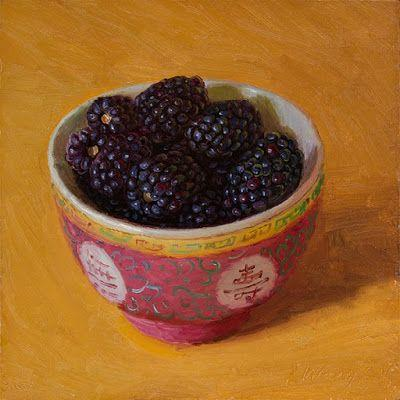 Blackberries in a bowl still life oil painting a day