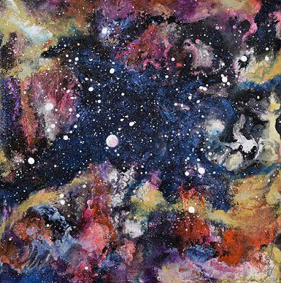 """Space Landscape, Abstract Art, Contemporary Mixed Media Painting,""""Kaleidoscope Galaxy"""