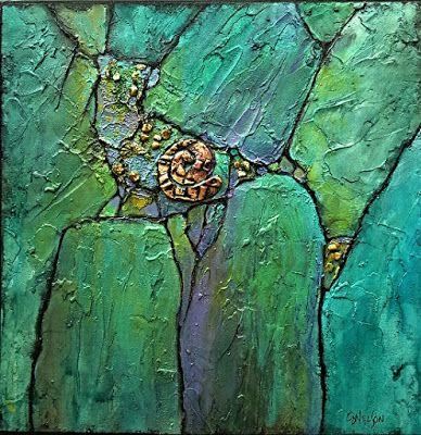"""Geologic Abstract Mixed Media Painting """"Phoenix Demo I"""" by Colorado Artist Carol Nelson"""