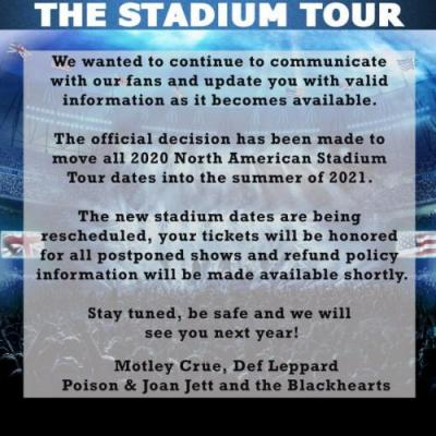 It's Official: MÖTLEY CRÜE, DEF LEPPARD And POISON's 'The Stadium Tour' Postponed To Summer 2021