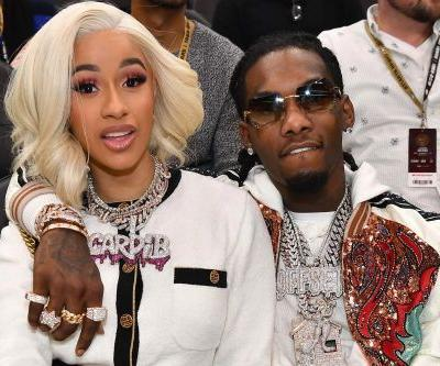 Cardi B and Offset visit Jimmy Kimmel in his-and-hers Dior outfits