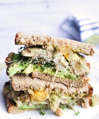 Chickpea Salad Sandwich with Tomato and Cucumber