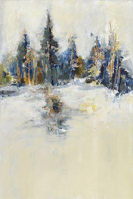 "Abstract Landscape Painting,Winter Scene, Contemporary Art, Fine Art For Sale, ""AT THE EDGE OF SILENCE I"" by Contemporary Artist Liz Thoresen"