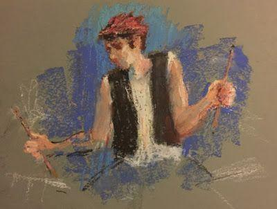 The Drummer - oil pastel figurative painting of a man playing drums