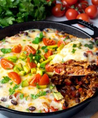 Easy Weeknight Mexican Skillet Enchiladas
