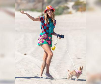 Hailey Bieber spotted walking her dog on Malibu beach