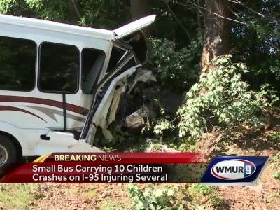 Bus carrying 10 children crashes on I-95