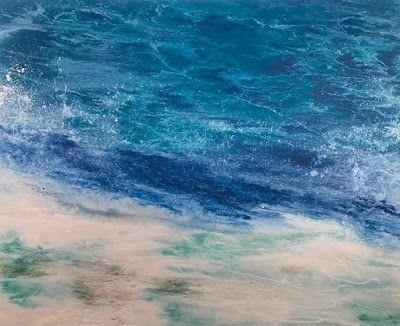 "Contemporary Seascape, Abstract Seascape, Coastal Living Decor, Fine Art , Stormy Sea, ""FUN AT HIGH TIDE-Racing the Tide Series"" by International Contemporary Artist Kimberly Conrad"