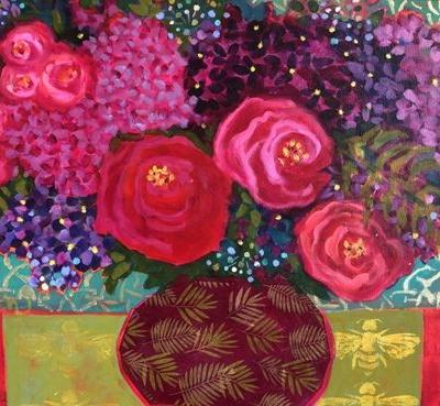 """Contemporary Abstract Bold Expressive Still Life Flower Art Painting, """"Roses, Hydrangeas & Friends"""" by Santa Fe Artist Annie O'Brien Gonzales"""