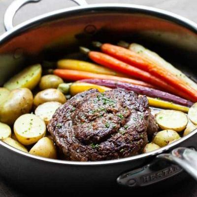 Ribeye Cap Steak - one pan dinner for two