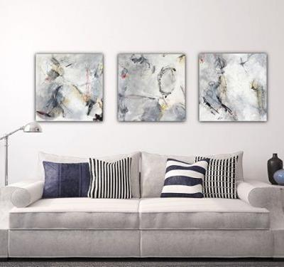 "Contemporary Abstract Expressionist Fine Art Painting Series, ""Gray and Gold"" by Contemporary Expressionist Pamela Fowler Lordi"