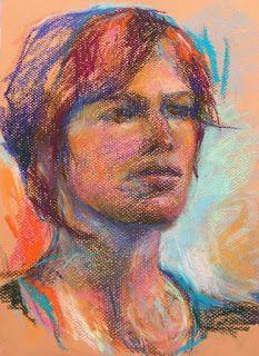 "RED HAIR - 12"" x 9"" portrait pastel sketch by Susan Roden"