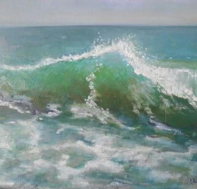 Turquoise Wave, Original Oil Painting, Daily Painting, Small Oil Painting, 14x18