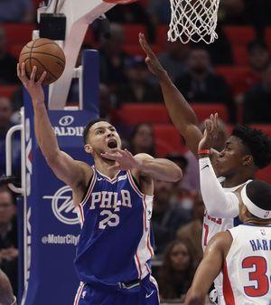 Simmons' triple-double lists 76ers over Pistons 97-86