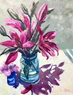 Ruby Lilies, New Contemporary Floral Painting by Sheri Jones