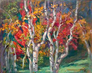 """""""Autumn Concerto"""" Fall Foliage Palette Knife Painting by Niki Gulley"""
