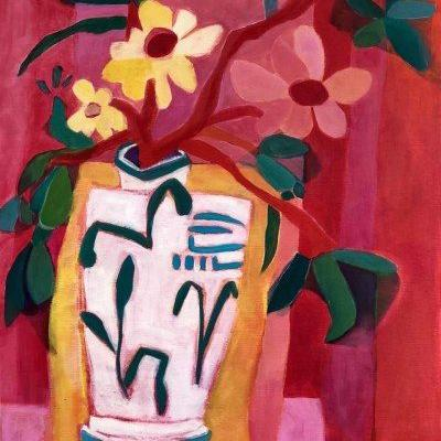 "Contemporary Expressionist Bold Still Life Flower Art Painting ""Favorite Vase"" by Santa Fe Artist Annie O'Brien Gonzales"