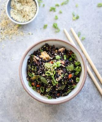 Black Fried Rice with Snap Peas, Hemp Seeds and Scallions