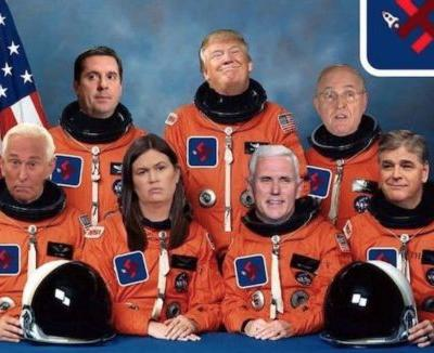 Roger Stone Deletes Photo of Himself and Trump in Space Force Suits With Swastika Patches