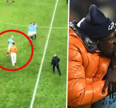 Man City star Mendy chased by stewards as he invades pitch to celebrate Liverpool win