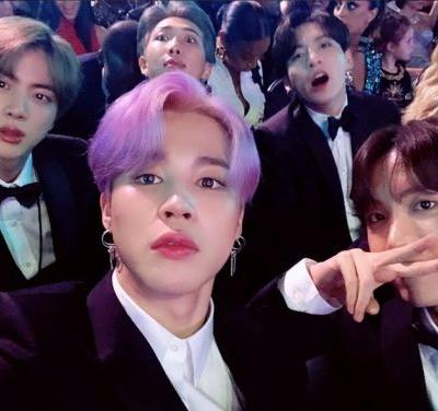 BTS rock pastel-hued hair at last night's Grammys