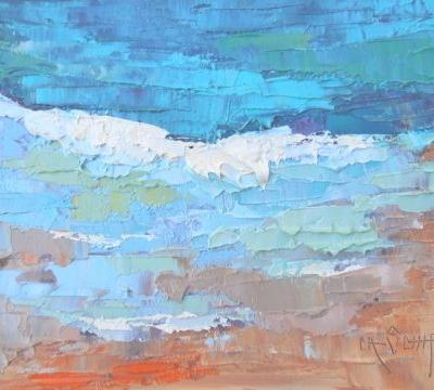 "Daily Painting, Small Oil Painting, Small Seascape, ""Celebrating Blue"" by Carol Schiff, 6x8"" Oil SOLD"