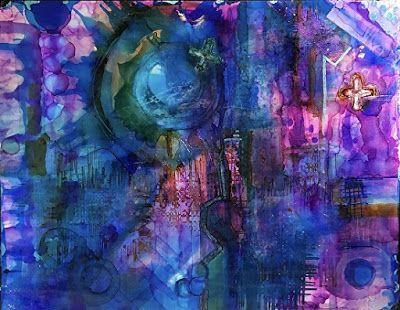 """Contemporary Abstract Painting, Alcohol Ink Art """"CYBORG"""" by New Orleans Artist Lou Jordan"""