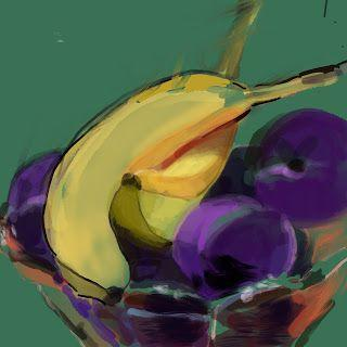 "Procreate painting.""Purple Plums and 2 Bananas"""